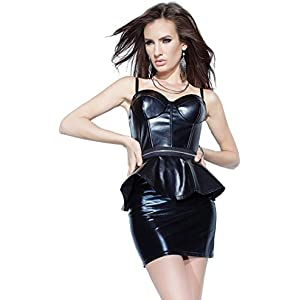 8e93f3979 Darque Women s Black Rubber Look Peplum Bustier and Skirt Set