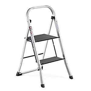 Delxo Upgrade Lightweight Aluminum 2 Step Ladder Step Stool Single-Hand Carry Ladder with Handgrip Anti-slip Sturdy and Wide Pedal Multi-Use for Household and Office Portable Step Stool 330lbs 2-Feet
