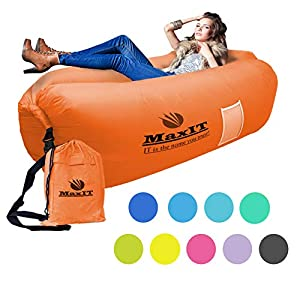 MaxIT Inflatable Lounger Hammock Air Sofa Water Proof Easy to Inflate & Puncture Resistant w/Metal Securing Stake, Perfect for Outdoors, Camping, Beach, Park or Pool - Orange