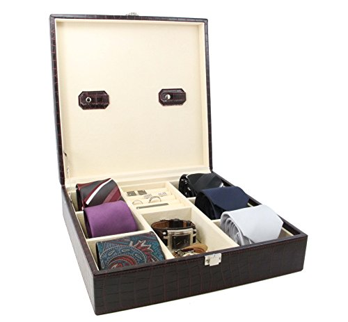 Decorebay Handcrafted Crocodile Leather Tie Box and Cufflink Storage Box for Men – Seal Brown