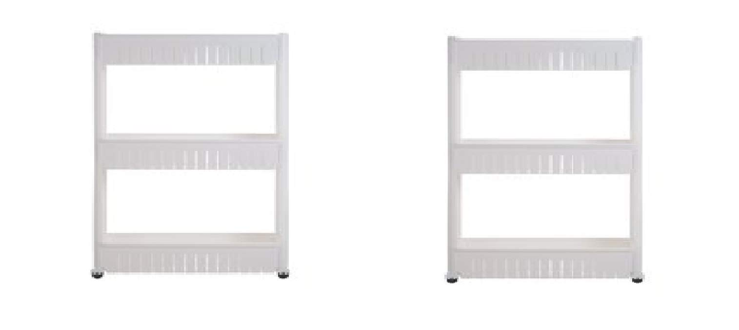 Everyday Home 2 Pack - 3 Tier Slide Out Laundry Cart on Rollers-Only 5'' Wide - Slim Design for Maximum Space Saving, PVC Wheels