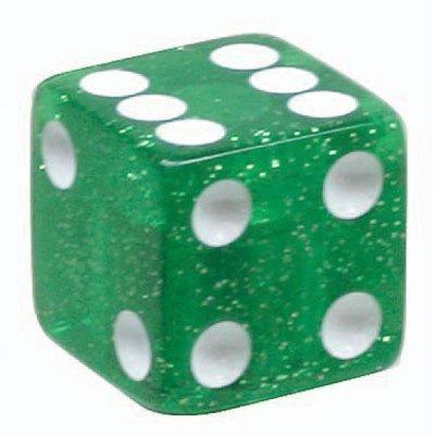 Trik Topz Dice Valve Caps Pair Green Glitter by Trik Topz [並行輸入品]
