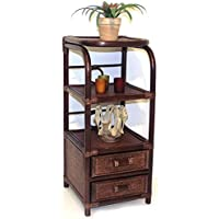 Handmade Bookcase Designer ECO Rattan Wicker with 2 Drawers, Dark Brown