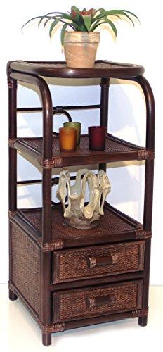 (Handmade Bookcase Designer ECO Rattan Wicker with 2 Drawers, Dark Brown)