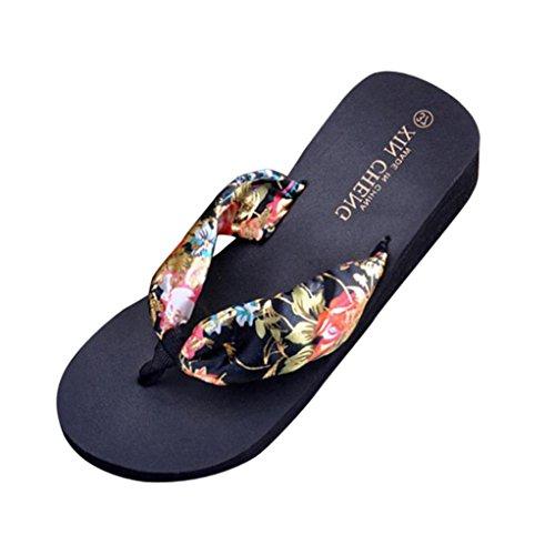 Tenworld Bohemen Floral Beach Sandalen Wig Platform Slipper Slippers Flip Flops Zwart