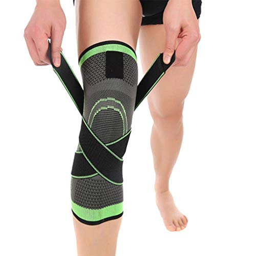 Benficial Unisex Compression Knee Sleeve Support Running Basketball Lift Knee Pads Green