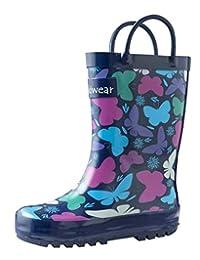 OAKI Boys Rubber Rain Boots Easy-on Handles