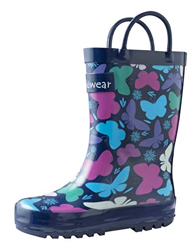 OAKI Kids Rubber Rain Boots with Easy-On Handles, Butterflies, 12T US Toddler