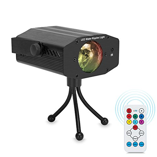 Zolee Water Wave Light, 7 Colors Sound Activated Ocean Ripple Effect Projector Stage Lights with Remote Control for Disco Holiday Party Decorators