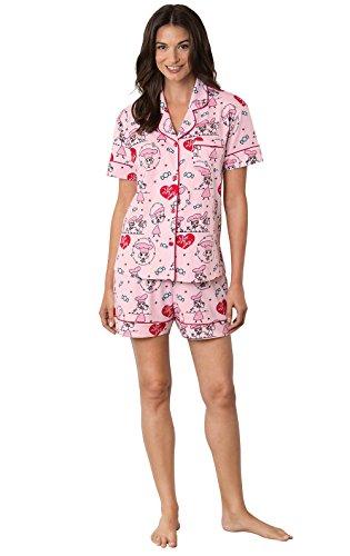 PajamaGram Love Lucy Chocolate Factory Short Women's Pajamas, Pink, Med (8-10)