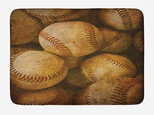 (Lunarable Vintage Bath Mat, Vintage Baseball Background American Sports Theme Nostalgic Leather Retro Balls Artwork, Plush Bathroom Decor Mat with Non Slip Backing, 29.5 W X 17.5 L Inches, Brown)