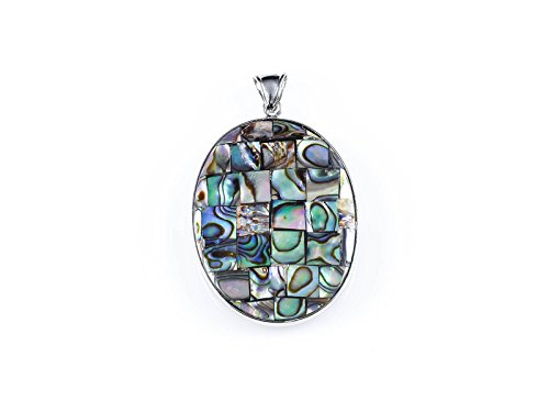 ThrowinStones Abalone Shell Oval Mosaic Pendant - One Genuine Reversible Sterling Silver & Abalone Pendant, Reiki Crystals and Healing Stones E0732