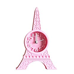GUANGS GuanGsskuo Fashion Eiffel Tower Tabletop Alarm Standing Clock Home Office Decoration Gift Pink