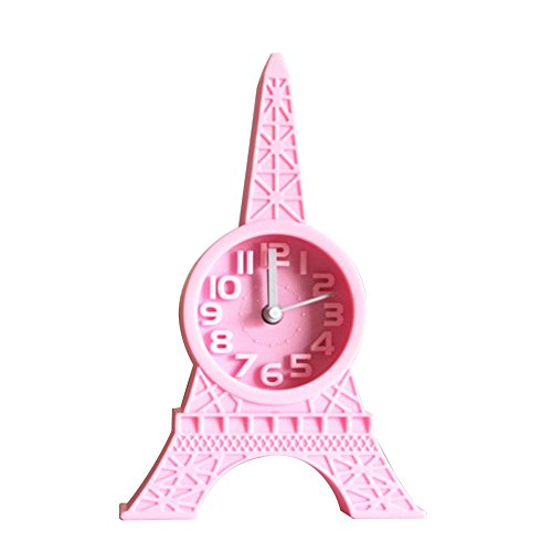 WillowswayW Fashion Creative Eiffel Tower Shape Tabletop Alarm Standing Clock Home Office Decoration Student Gift