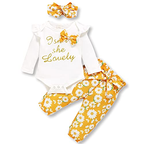Baby Girls Isn't She Lovely Outfit Ruffle Romper Top Floral Pants Headband 3Pcs Yellow