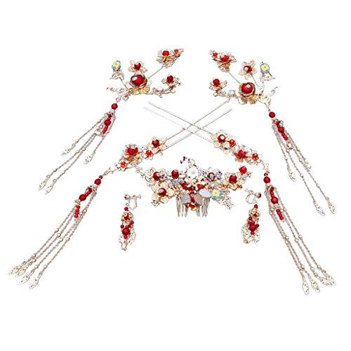 Bridal Headdress Set Elegant Wedding Coronet Hair Accessories for Bride Wedding Dress Chinese wedding by DEATU(Silver) from DEATU