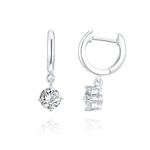 - PAVOI 14K Gold Plated CZ Ear Huggie Drop Earring - White