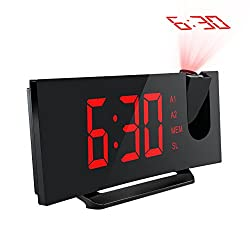 Mpow 5 Projection Alarm Clock, FM Radio Alarm Clock with Dual Alarm, Digital Clock with 3 Dimmer Display for Bedroom, Ceiling, USB Charging Port, Backup Battery for Setting (Red)