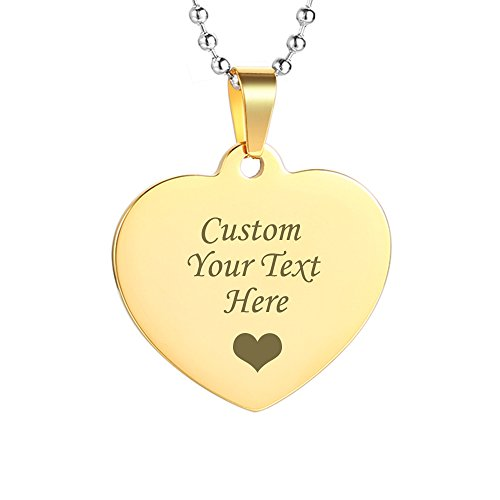 GAGAFEEL Custom Engraved Personalized Friendship Family Lover Pet Necklace Dog ID Tag Pendant Love Gift (Heart Tag-Gold Color) ()