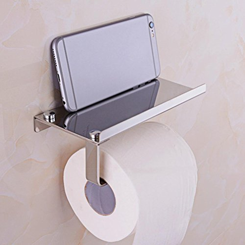 Remiel Store Wall Mounted Stainless Steel Toilet Roll Tissue Holder Stand Paper Storage Dispensers With Shelf (Silver, (Above Storage Beds)
