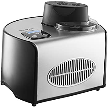 Gourmia GSI200 Automatic Ice Cream Maker Stainless Steel 1.6 Qt - Gelato, Sorbet and Frozen Yogurt Machine - Built-in Compressor and LCD Digital Display- Includes Free Recipe Book – 110/120V