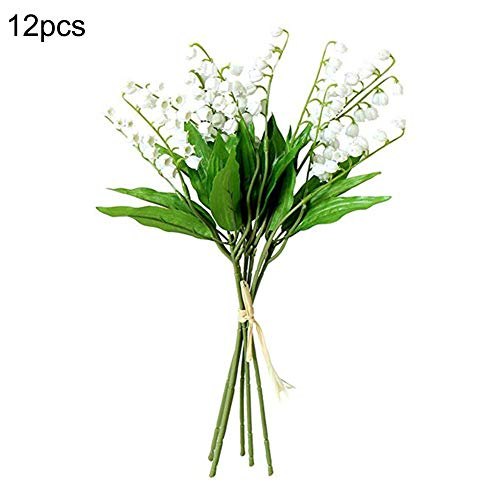 Lily Of Valley The Bouquet (Takefuns 12 PCS Artificial Lily of The Valley Flowers Arrangement Bundle for Wedding Bouquet Home Decor Garden Decoration White Wedding Artificial Flowers)