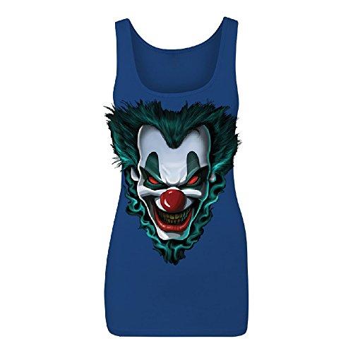 Zexpa Apparel Psycho Clown Joker Face Women's Tank Top Funny Halloween 2017 Costume Shirts Royal Blue -