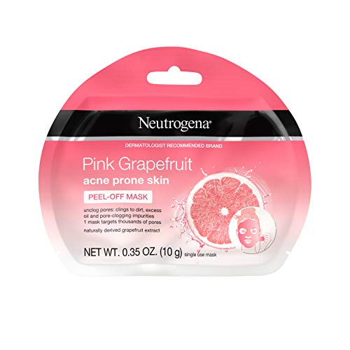 Neutrogena Pink Grapefruit Peel-Off Face Mask for Acne Prone Skin Grapefruit Extract, Non-Comedogenic & Oil-Free, Single-Use 0.35 oz (Pack of 6)