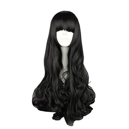 [UpdateClassic Unisex Long Black Curly Wig Carnival Costume Wig 70cm] (Blake Rwby Costume)