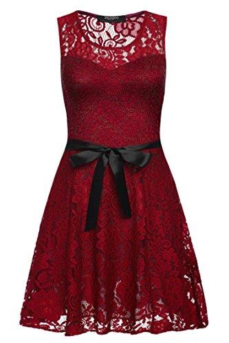 Zeagoo Damen Elegant Cocktailkleid Spitzenkleid Festliches Party Hochzeit Kleid mit Gürtel Rot S