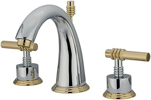 NUVO ES2964ML Elements of Design Milano 8 to 16 2-Handle Widespread Lavatory Faucet with Brass Pop-Up, 5-1 2 , Polished Chrome Polished Brass