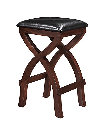 Wood Counter Height Bar Stools X-style Legs 24-inch Jaidyn Espresso with Dark Brown Vinyl Upholstery By Tribecca Home