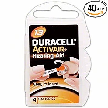 40 Duracell Activair Hearing Aid Batteries Size: 13 (Best Hearing Aid Batteries 13)