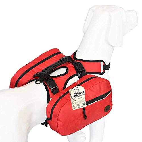 for Large Dog, Detachable Pack Instantly Turns into Harness, Adjustable Tripper Hound Saddlebag Travel Hiking Camping ()