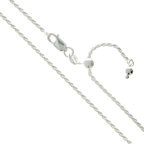 - Sterling Silver Adjustable Diamond-Cut Rope Chain 1.7mm Solid 925 Italy New Necklace 22