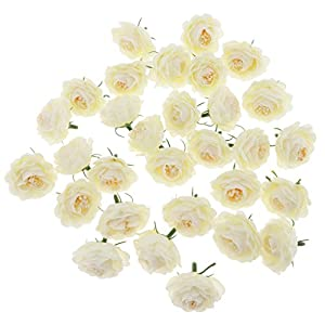 B Blesiya 30Pcs Artificial Silk Camellia Fake Flower Buds Heads Wedding Flower Wall Decor 91