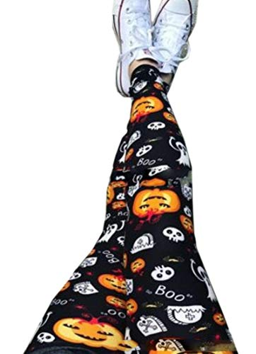 HANA+Dora Womens Digital Print Pumpkin Halloween Comfy Yoga Legging M]()