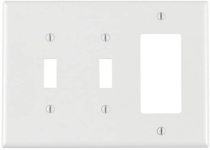 Leviton PJ226-W 3-Gang 2-Toggle 1-Decora/GFCI Combination Wallplate, Midway Size, White