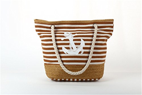 Women's Weave Amuele Strips Shoulder C94 Beach Khaki Bag Bag Canvas Shopping Bag Straw UYq8UO