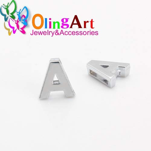Laliva Accessories - 10pcs/lot Full Set of English Letters Shapes etc Flat Slider Spacer fit 10mm Flat Leather Cord Bracelet Jewelry Making - (Color: A 10pcs, Size: Glossy Letters) ()