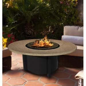 California Outdoor Concepts 5010-BK-PG10-SUN-48 Carmel Chat Height Fire Pit-Black-Black Reflective Glass-Sunset Gold - 48 in.