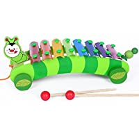 FunBlast 2 in 1 Animal Xylophone with Pull Along Wooden Toys for Kids, Wooden Xylophone for Kids, Available in 2 Variants (Caterpillar)
