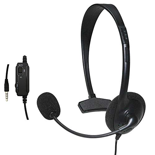 Earphones Headset, Wired Unilateral Controller Headphone Gaming Headset with Microphone for PS4 - Black ()