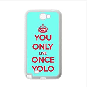 Case ,YOLO(You Only Live Once) Samsung Galaxy Note2 N7100 Plastic and TPU Case, Cell Phone Cover