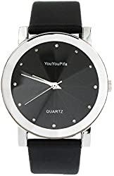 YouYouPifa Fashion Simple Design Black Dial Leather Strap Quartz Wrist Watch (Men's)