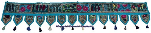 Sophia-Art Christmas Decorative – Indian Ethnic Window Valance Home Decor Bandhanwar Toran Vintage Embroidered Patchwork Door Hanging Turquoise, 78 x 13 Big Valance
