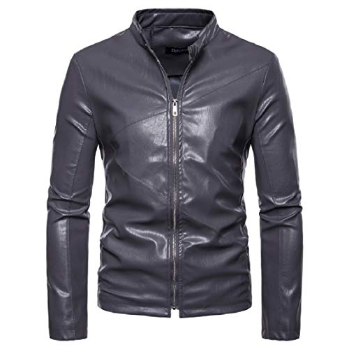 Outwear Jackets Leather Lapel Motorcycle Gray EnergyMen Faux Classic PU Zipper w8qg8IxHa