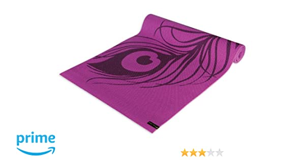 Wai Lana Extra Thick Yoga and Pilates Mat (Peacock Feather, Purple)- 1/4 Inch Thick, Latex-Free, Non-Slip, Lightweight, Easy Wash