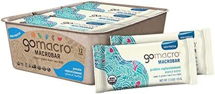 GoMacro MacroBar Organic Vegan Protein Bars, Peanut Butter, 2.3 Ounce Bars (Pack of 12)