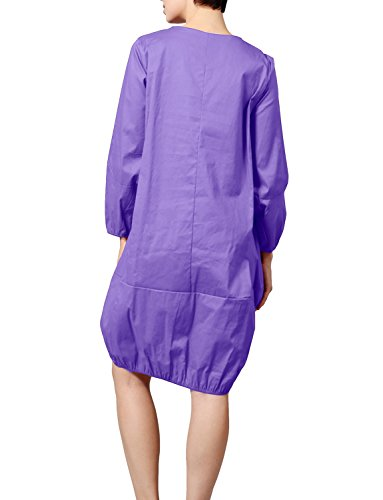 J. J. Lovny Women's Bottom Elastic Cocoon Dress With Pockets Made In Usa Jlwdr78-purple Bas Des Femmes Lovny Robe Cocon Élastique Avec Des Poches Faites Aux Etats-unis Jlwdr78-violet